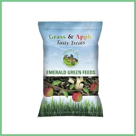 Emerald Green Feeds Tasty Treats Grass and Apple